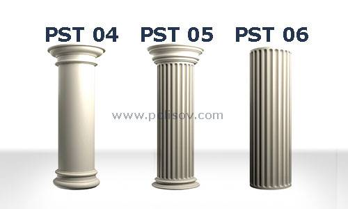 Flat ram, grooved ram head and fluted column Polyurethane Jamb Column Head Column Base
